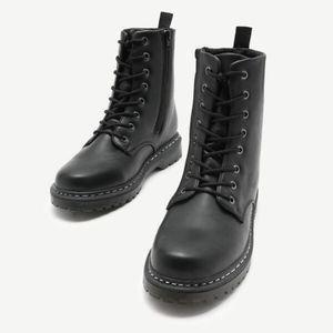 NWOT Faux Leather Combat Boots